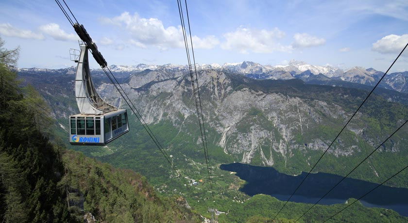 Cable Car with the View over Lake Bohinj (Landscape)
